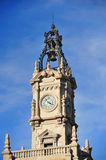 Neoclassic tower with bell. With metallic structure in the town hall of Valencia Royalty Free Stock Photography