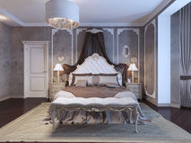 Neoclassical bedroom with frame molding on walls. 3D render Stock Images
