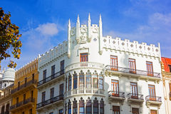 Neoclassical buildings in Valencia, Spain. Royalty Free Stock Image