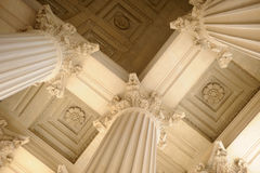 Neoclassical Columns. Looking up at neoclassical columns royalty free stock images