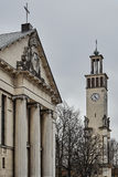 Neoclassical columns and campanile with statues Royalty Free Stock Photo