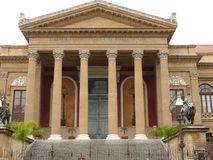 Palermo, Sicily, Italy. 11/04/2010. Main facade of the Teatro Massimo stock images