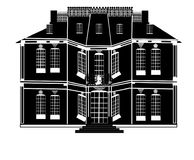 Neoclassical mangårdsbyggnad royaltyfri illustrationer