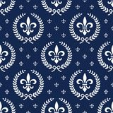 Neoclassical seamless textile pattern with laurel. Seamless background with laurel wreath and fleur de lis, full scalable vector graphic included Eps v8 and 300 Royalty Free Stock Photography