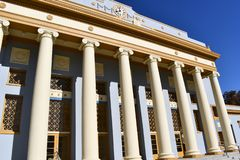 Roem style  of columns on a building. The colonnade is kept in corinthian style, resembling a temple royalty free stock photo