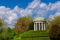 Neoclassical temple in Vicenza Querini Park. Neoclassical architecture and landscape in Vicenza. Monopteros temple erected in 1820 in the Querini public park stock photos