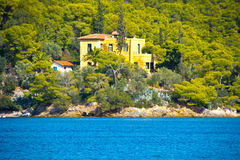 Neoclassical villa. Architecture, by the sea, on an island in Greece stock photo