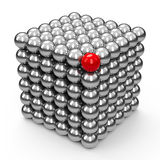 The Neocube spheres with red sphere Royalty Free Stock Photos