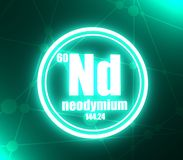 Neodymium chemical element. Sign with atomic number and atomic weight. Chemical element of periodic table. Molecule and communication background. Connected vector illustration