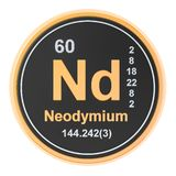 Neodymium Nd chemical element. 3D rendering. Isolated on white background royalty free illustration
