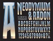 Neodymium- och Radonoriginalalfabet Royaltyfri Fotografi