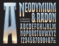 Neodymium And Radon Original Alphabet. A tall condensed typeface design with an art deco and cinematic flair Royalty Free Stock Photography