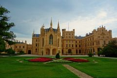 Neogothic palace in Lednice, South Moravia region of Czech Republic located in Europe stock photo