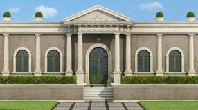 Neoklassisches Landhaus mit Garten lizenzfreie abbildung
