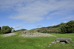 Neolithic Chambered Cairn. Nether Largie South Cairn, Kilmartin Glen, Argyll, Scotland from the south, with cist in foreground Royalty Free Stock Photography