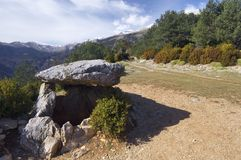 Neolithic  dolmen. View located in the Pyrenean village of  Tella, Huesca,  Aragon, Spain Royalty Free Stock Photo