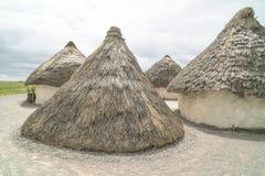 Stonehenge neolithic houses Royalty Free Stock Image