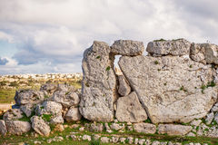 Neolithic megalith temple complex of Ggantija, Malta. Stock Images