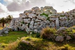 Neolithic megalith temple complex of Ggantija, Malta. Stock Photos