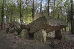 Neolithic passage grave, Megalithic stones in Osnabrueck-Haste. Osnabrueck country, Germany, Europe royalty free stock photos