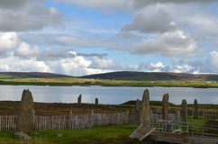 Neolithic Ring of Brodgar in the island of Mainland island, Orkney archipelago, Scotland. The Ring of Brodgar or Brogar, or Ring o` Brodgar is a Neolithic henge royalty free stock photo