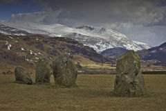 Neolithic rocks in Cumbria. In the English Lake District: megaliths in the Castlerigg stone circle with Helvellyn behind. One of the earliest stone circles from Stock Image