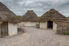Neolithic village near Stonehenge on a cloudy day Royalty Free Stock Image