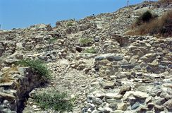 Neolithische ruïnes, Khirokitia, Cyprus stock afbeelding