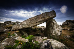 Neolitic dolmen. And big moon Royalty Free Stock Images