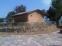 Neolitiska kulturmodeller av hus i Volos Arkivbilder