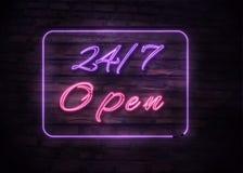 Neon öppnar 24/7 tecken på bakgrund för tegelstenvägg vektor illustrationer