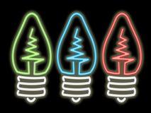 neon światła żarówki Zdjęcie Royalty Free