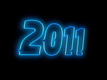 Neon 2011. Sign on black background Stock Illustration