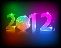 Neon 2012 year with globe. Illustration Royalty Free Stock Photography