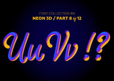 Free Neon 3D Typeset With Rounded Shapes. Font Set Of Painted Letters Royalty Free Stock Image - 98657236