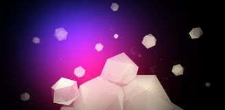 3d render. Abstract background with a polygon, neon light. Neon abstract background with backlight, modern design. White polygons scattered particles Royalty Free Stock Images