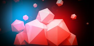 3d render. Abstract background with a polygon, neon light. Neon abstract background with backlight, modern design. White polygons scattered particles stock illustration