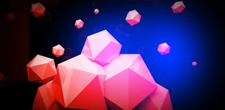 3d render. Abstract background with a polygon, neon light. Neon abstract background with backlight, modern design. White polygons scattered particles royalty free illustration