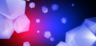 3d render. Abstract background with a polygon, neon light. Neon abstract background with backlight, modern design. White polygons scattered particles Royalty Free Stock Photo