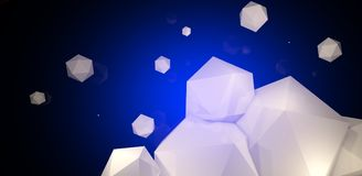 3d render. Abstract background with a polygon, neon light. Neon abstract background with backlight, modern design. White polygons scattered particles Stock Photo