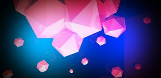 3d render. Abstract background with a polygon, neon light. Neon abstract background with backlight, modern design. White polygons scattered particles Stock Images