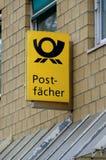 Neon advertising Postfächer at Deutsche Post AG Royalty Free Stock Photos