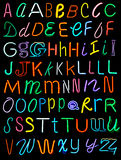 Neon Alphabet. Letters of the alphabet made from neon signs Royalty Free Stock Photos