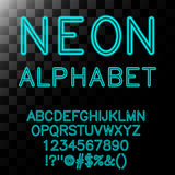 Neon alphabet in cyan color. Royalty Free Stock Images