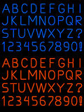 Neon alphabet font. Letters and numbers rendered in fat and thin neon light tubes royalty free illustration