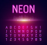 Neon Alphabet Font Style Flat Design Royalty Free Stock Images