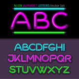 Neon Alphabet Font Style Flat Design Stock Photo
