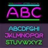 Neon Alphabet Font Style Flat Design. Neon letters, neon sign, neon font, light alphabet, neon lights, art text typeset, type abc, typography electricity latin Stock Photo