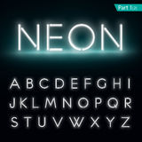 Neon alphabet. Glowing font, part 1 royalty free illustration