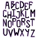 Neon alphabet. Glowing letters. Black and pink color. On white background. The Latin alphabet. Bright font. Vector illustration Royalty Free Stock Photos